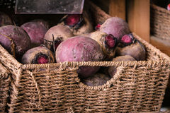 Basket of beetroot Stock Photography