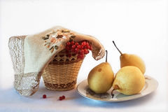 Fruit and berry collection. Basket with berries and fruit on the table  on a light background Stock Photography