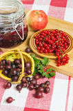 Basket with berries of a red gooseberry Royalty Free Stock Photo