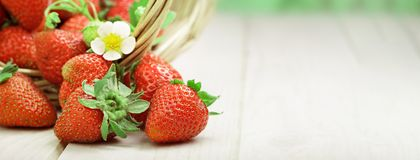 Basket with berry on table. Basket with strawberry on table stock photo