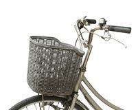 Basket on bicycle Stock Images