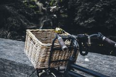 Basket for bicycle stock image