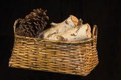 Basket Birch Fire Logs Stock Image