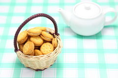 Basket with biscuits on the table. Basket on the table, it had a biscuit basket Royalty Free Stock Image