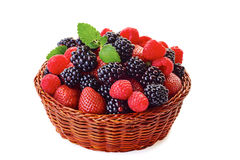 Basket with blackberries, strawberries and raspberries on white. Basket with blackberries, strawberries and raspberries  on white background Royalty Free Stock Photography