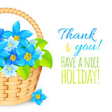 Basket with blue flowers. Greeting card template. Royalty Free Stock Image