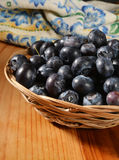 Basket of blueberries Royalty Free Stock Photography
