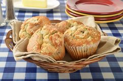 Basket of blueberry muffins Stock Images