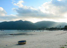 The basket boat on the beach at Con Dao island in Vietnam Stock Photos