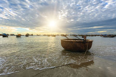 Basket boat beach Royalty Free Stock Photography