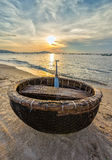 Basket boat before dawn Royalty Free Stock Images