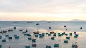 Basket boat and Fishing boat, Vietnam Nov 2016 Royalty Free Stock Photos