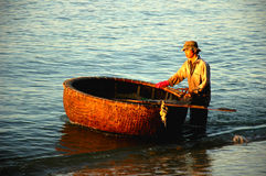 Basket boat in Vietnam Royalty Free Stock Images