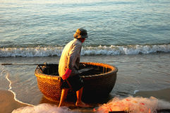 Basket boat in Vietnam Stock Photos