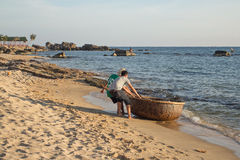 Basket boat in Vietnam Royalty Free Stock Photo