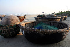 Basket Boats. Bamboo basket boats on Danang Beach, Viet Nam Stock Image