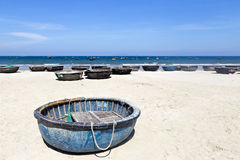 Basket Boats at Danang Beach. Stock Image