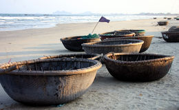 Basket Boats - Vietnam. Bamboo basket boats on Danang Beach, Vietnam Royalty Free Stock Photos