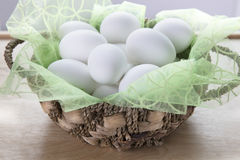 Basket of Boiled Eggs Stock Photo