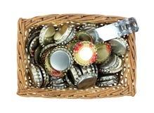 Basket Bottle Caps Stock Image