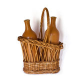 Basket with bottles Royalty Free Stock Images