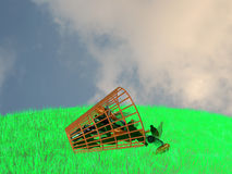 Basket and bottles(2). Basket and bottles, standing on a green grass against the blur sky Royalty Free Stock Photography