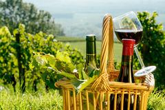 Basket with bottles and glass of red wine Royalty Free Stock Image