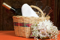 Basket with bottles and glasses Royalty Free Stock Images