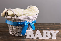Basket with bow, baby lettering. stock images