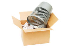 Basket and box with garbage Royalty Free Stock Image