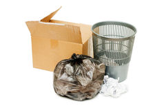 Basket and box with garbage Royalty Free Stock Images