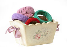 Jewelry basket. Basket with bracelets and jewellery Stock Images