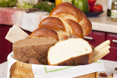 Basket with bread Stock Photography
