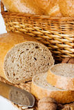 Basket with bread stock images