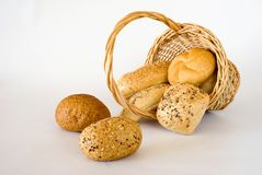 Basket with the bread Stock Photos