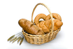 Basket with bread Royalty Free Stock Images