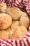 Basket with bread. Fresh baked bread in a basket stock images