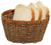 Basket with bread. Basket with bread isolated on white stock image
