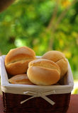 Basket with bread. Basket with ready bread for small matinal lunch royalty free stock image