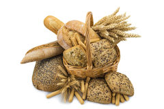 Basket with a bread assortment isolated on white Stock Photography
