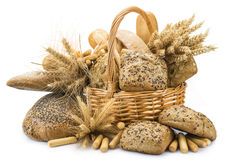 Basket with a bread assortment isolated on white Royalty Free Stock Images