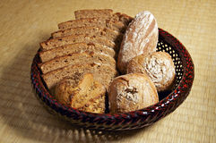 Basket of Bread and Buns Royalty Free Stock Images
