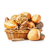 Basket of bread buns royalty free stock photo