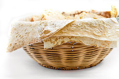 Basket with bread, lavash Royalty Free Stock Photography