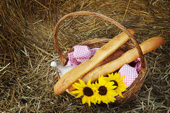 Basket of bread and milk Stock Image