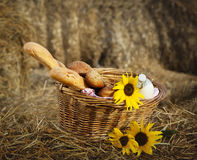 Basket of bread and milk Stock Photos