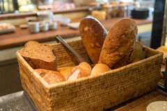 Basket with bread at restaurant Stock Image