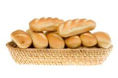 Basket of bread rolls. Stock Photo