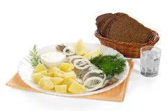 Basket with bread, shot glass of vodka and snack Stock Image