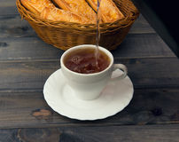 Basket with bread sticks Stock Images